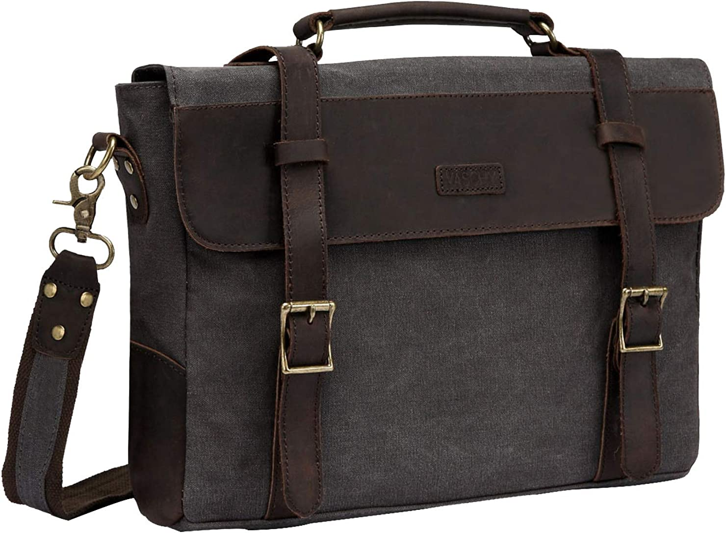 Messenger Bag for Men,Vintage Canvas Leather Canvas Laptop Satchel Shoulder Bag Business Briefcase