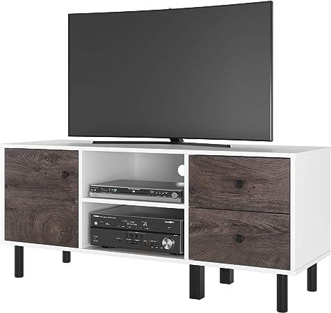 Homfa Mobile Porta TV Legno Armadio Moderno con 2 Ripiani e 1 Ante Supporto TV con 2 cassetti 119x40x52cm Rovere Moro
