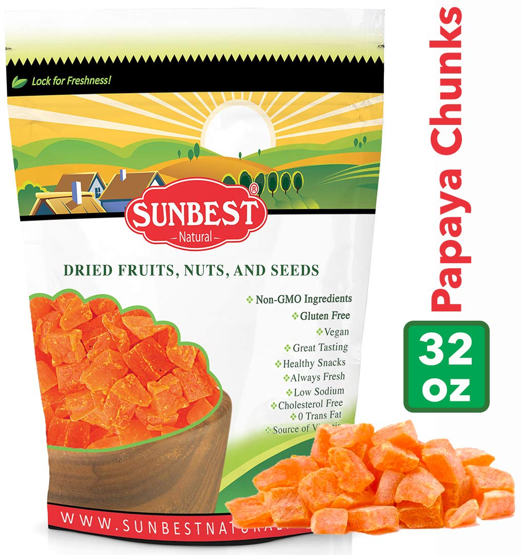 SUNBEST Dried Papaya Chunks in Resealable Bag (2 Lb) by SUNBEST NATURAL