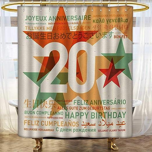 Lacencn Cortinas de ducha de 20º cumpleaños, impresión ...