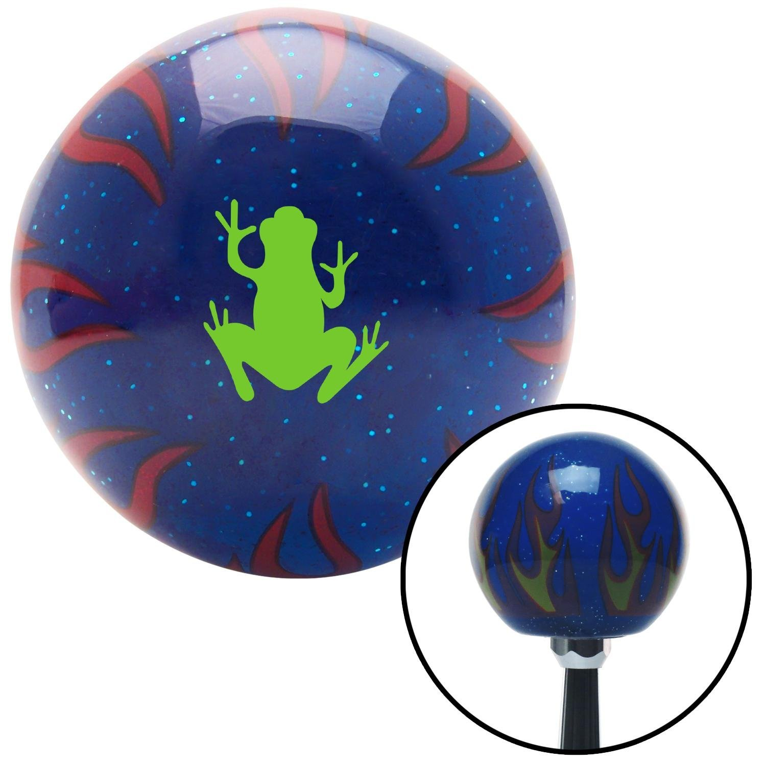 Green Frog Blue Flame Metal Flake with M16 x 1.5 Insert American Shifter 297648 Shift Knob