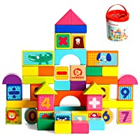 TOP BRIGHT Wooden Blocks Toys for 1 Year Old Boy and Girl, Building Blocks for Toddlers 1-3 50 Pieces Set
