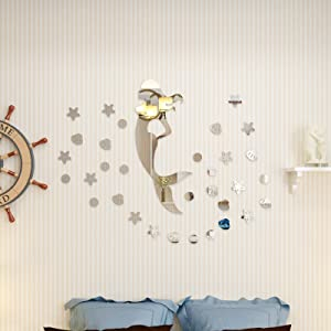 31 Pcs 24 inch Mermaid Mirror Wall Decal with Shell and Stars Giant Glitter Mermaid Peel Wall Stickers Acrylic Removable Girl Mermaid Silhouette for Home Decoration Silver Mirror Reflection
