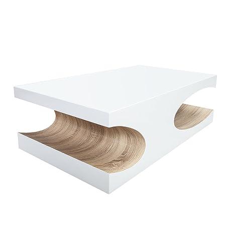 Edler Couchtisch Cubus 120cm Hochglanz Weiss Holztisch Wohnzimmertisch Tisch Sonoma Eiche