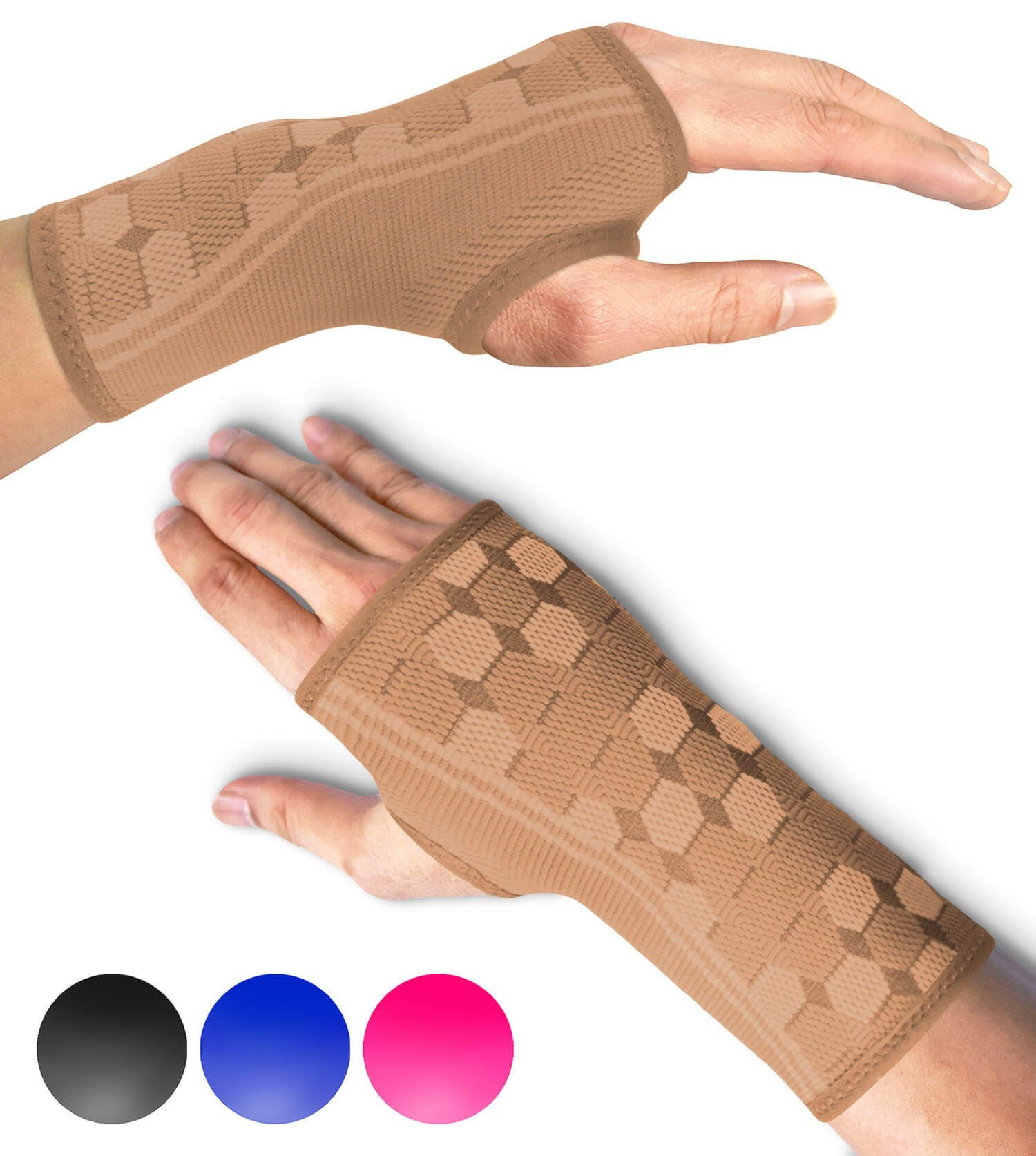 Sparthos Wrist Support Sleeves (Pair) - Compression Wrist Brace for Men and Women - Carpal Tunnel Tendonitis Arthritis Pain Relief for Sports Injuries Arthritic Wrists Palm Hand Pain RSI (Beige-M)