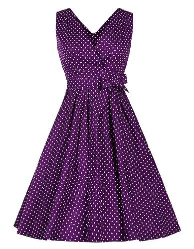 Women's 1950s Vintage Style Polka Dot Rockabilly Swing Dress