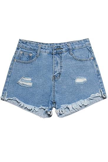 030e766100 Amazon.com: Burr hole loose denim shorts for women girl: Beauty