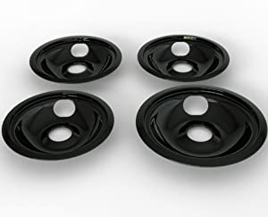 "3 Small Bowl WB31M20 6"" and 1 Large Bowl WB31M19 8"" Drip Pans Burner Bowls Compatible with GE Range Stove Black"