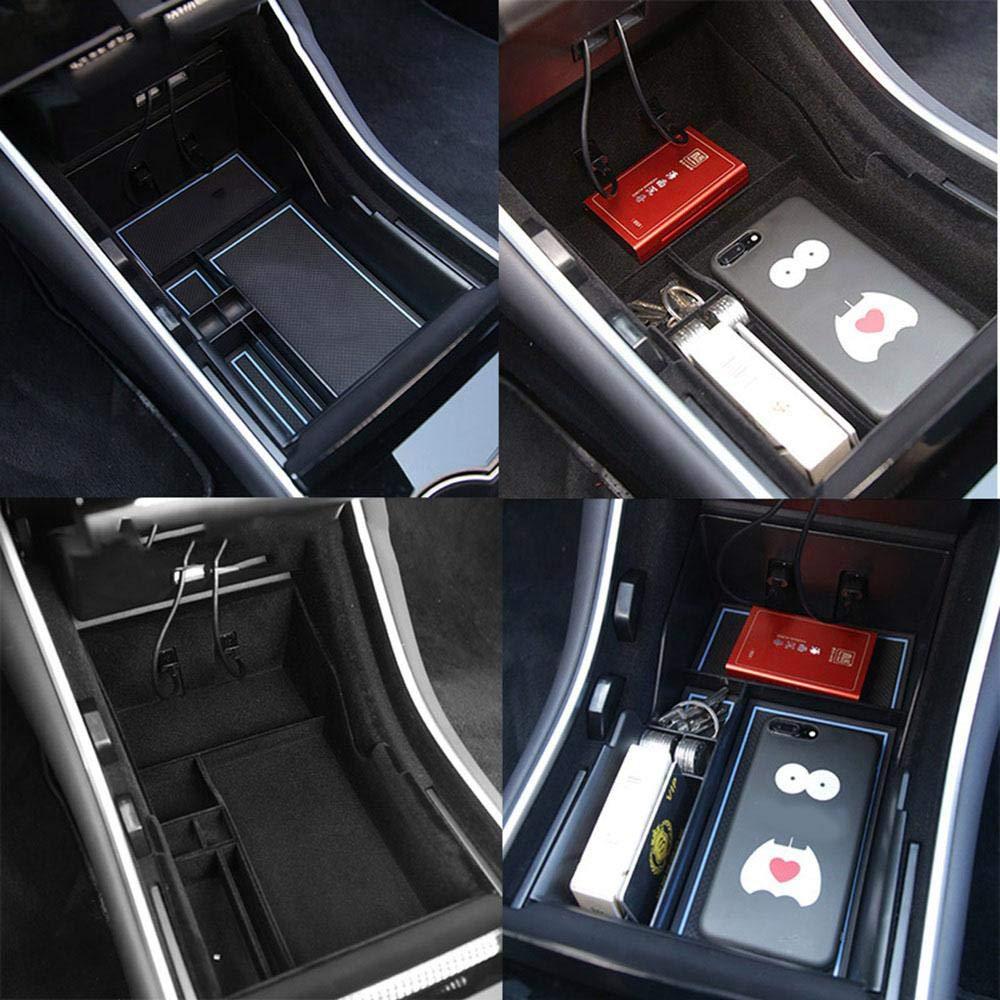Vassoio per Console Centrale con Cuscinetto in Silicone Antiscivolo Accessorio Essenziale Tesla Model 3 Organizer per Modello 3 Organizer per Console Centrale Womdee Tesla Model 3