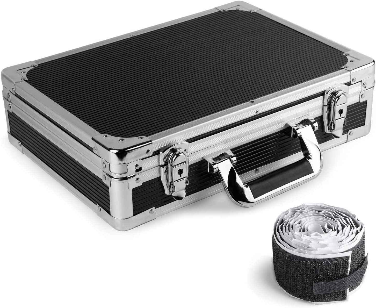 15 x 10.8 x 3.74 in Foam Padded Interior and Pedal Mounting Tape Fastener Vangoa Ghost Fire Sturdy Locking Aluminum Guitar Effect Pedal Case Locking with Aluminum Edge