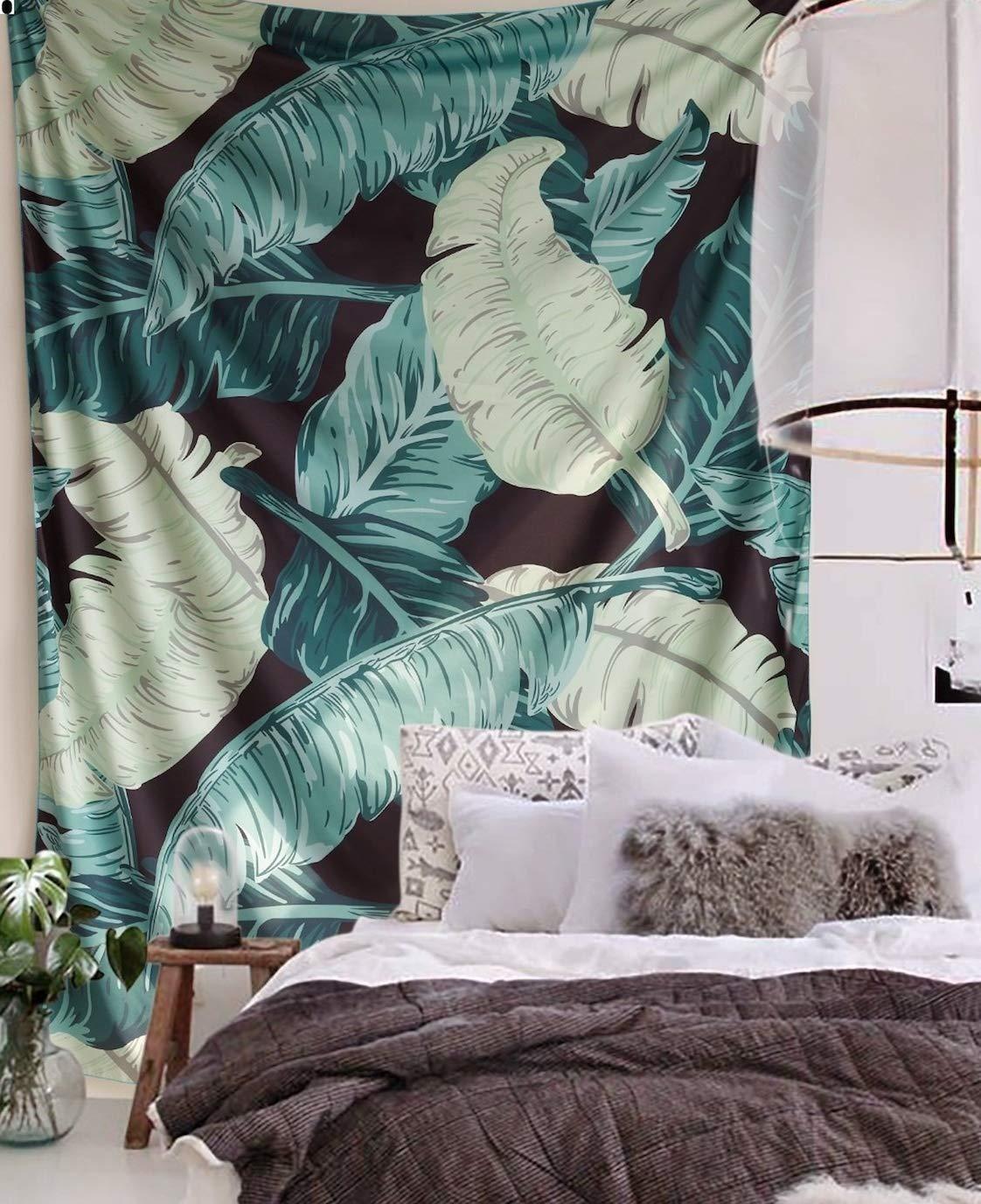 Flber Banana Leaf Wall Tapestry Home Decor,60''x 80'',Twin Size (Banana)