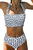 KIRUNDO Summer Women's Two Piece Swimsuits Floral High Waist Bikini Bandeau Wide Strap Push Up Padded Swimwear