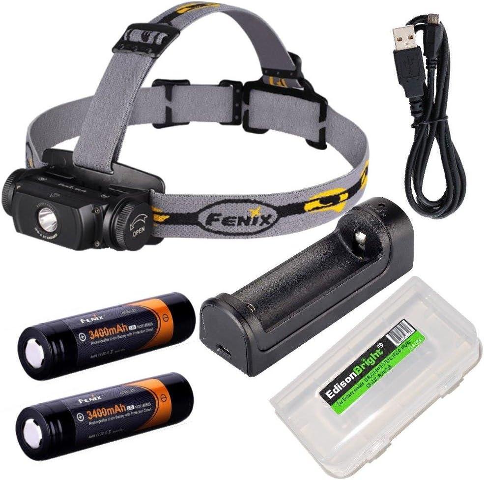 EdisonBright Fenix HL55 CREE LED 900 Lumen Headlamp with Fenix are-X1 Battery Charger, 2 X Fenix 18650 ARB-L2S 3400mAh Rechargeable Batteries BBX3 Battery case