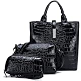 Lady women crocodile PU leather Tote handbag Fashion three pieces suit Multifunction Hao8226 blcak
