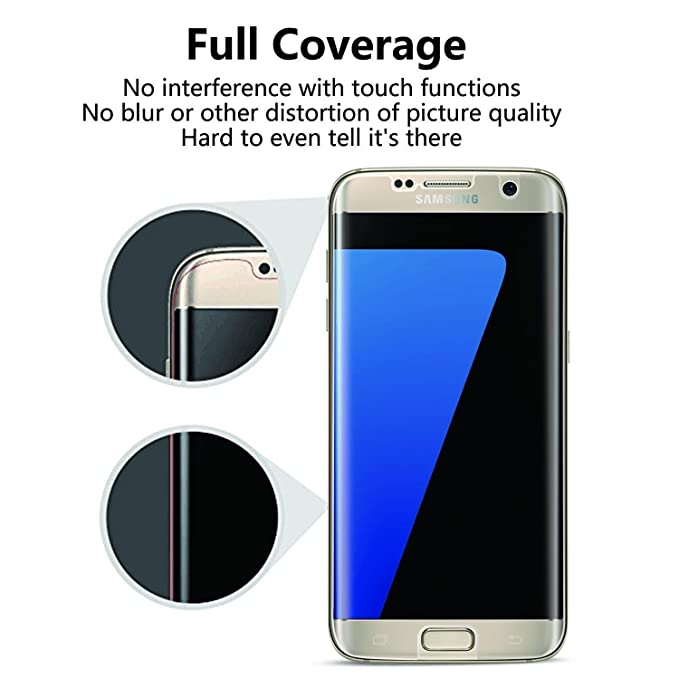 VEVICE 2Pack Galaxy S7 Edge Protector de Pantalla, [Cobertura completa] [Funda amigable] [Sin Burbujas][Anti-Arañazos] [Sin bordes levantados] Wet Apped HD ...