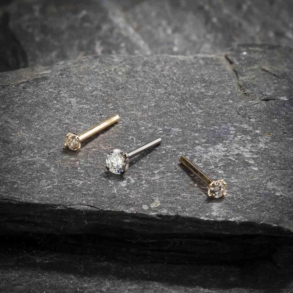 tw Diamond 14K Rose Gold Straight Fishtail Nose Ring FreshTrends 2.5mm 0.06 ct