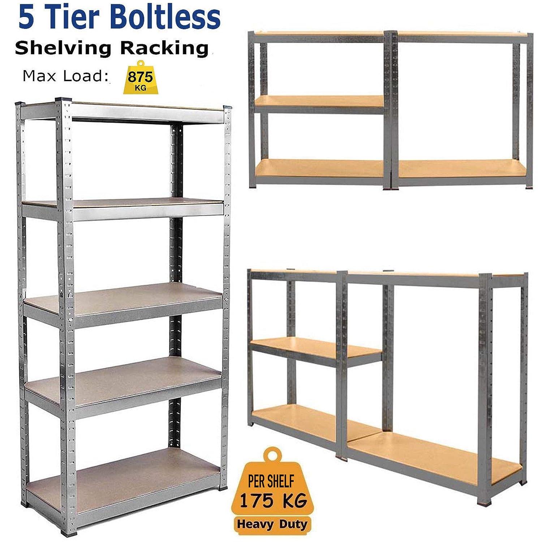 Heavy-duty Boltless Shelves 150 X 70 X 30 cm Racking 5-tier Garage Shelving