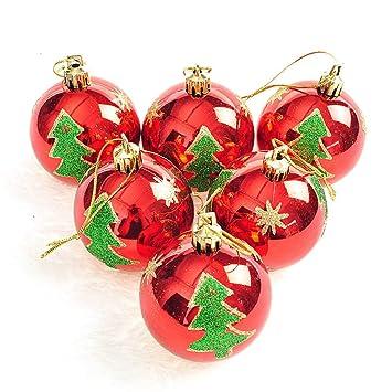 Christbaumkugeln Anhänger.Feiliandajj 6pcs 6cm Weihnachtskugel Gemalt Kugel Weihnachten Deko