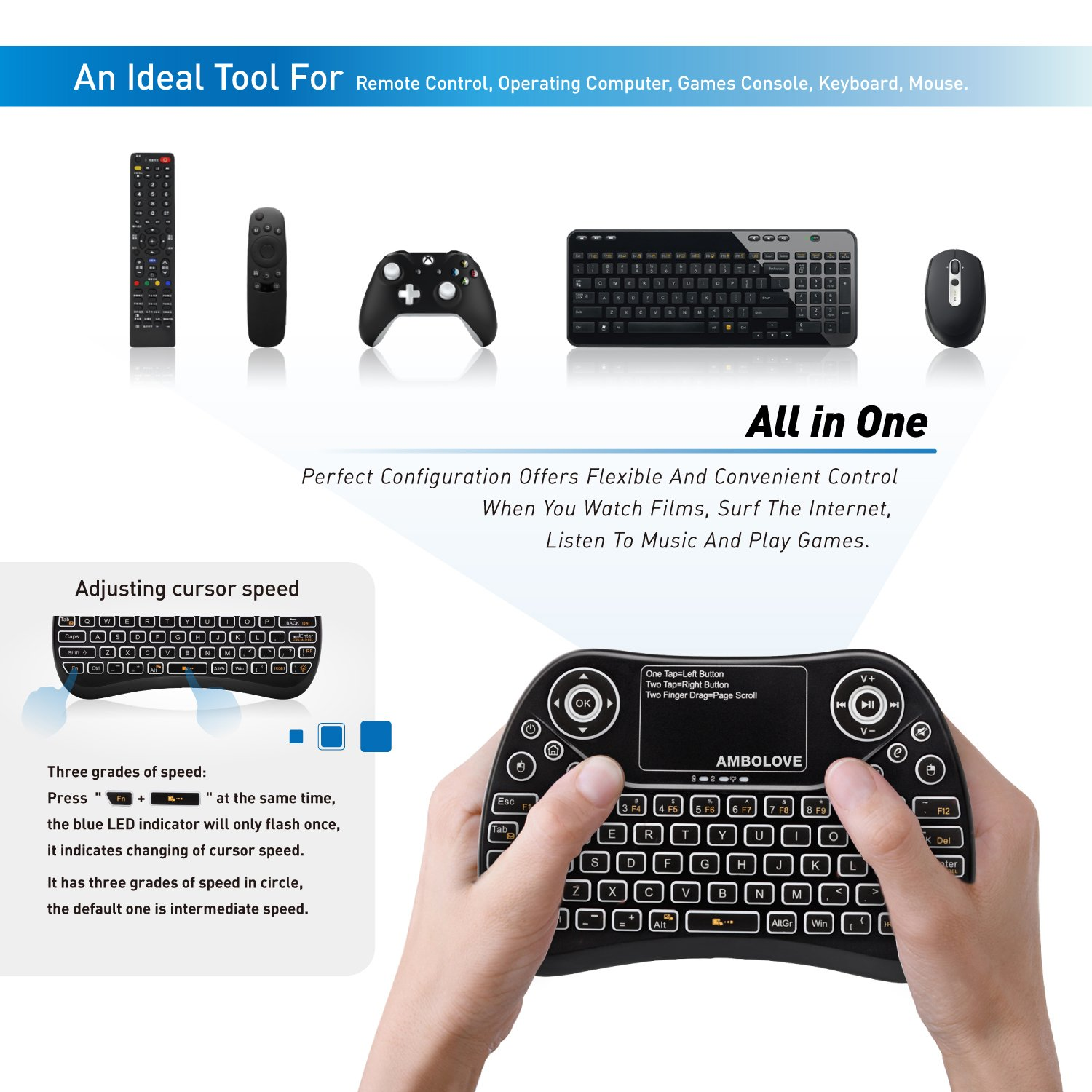 Amazon.com: Wireless Mini Keyboard with Touchpad Mouse and Multimedia Keys,  2.4GHZ Portable USB Rechargable Li-ion Battery Android Remote Keyboard  Support ...