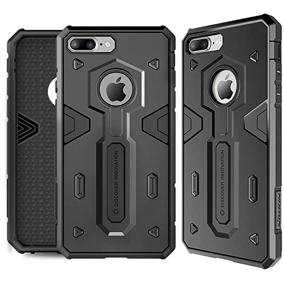 hot sale online 55b35 06bf0 iPhone 7 Plus Case, Nillkin [Defender II] - Black [Drop  Protection][Anti-Scratch][Armor Hybrid][Shockproof][Heavy Duty][Slim  Fit][Dust Plug] For Apple ...