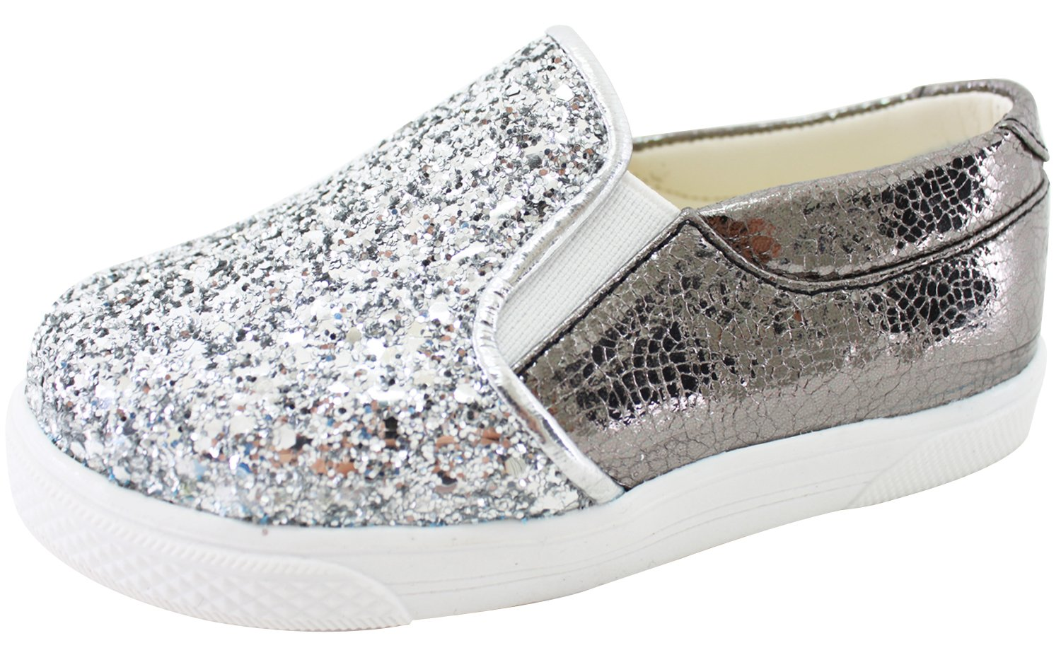 Milky Walk Boys Girls Glitter Slip On Shoes (7 M US Toddler, Silver) by Milky Walk (Image #2)