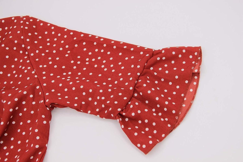 CLOUSPO Summer Boho Ruffle Dresses for Women Casual V Neck Polka Dot Dress Tunic
