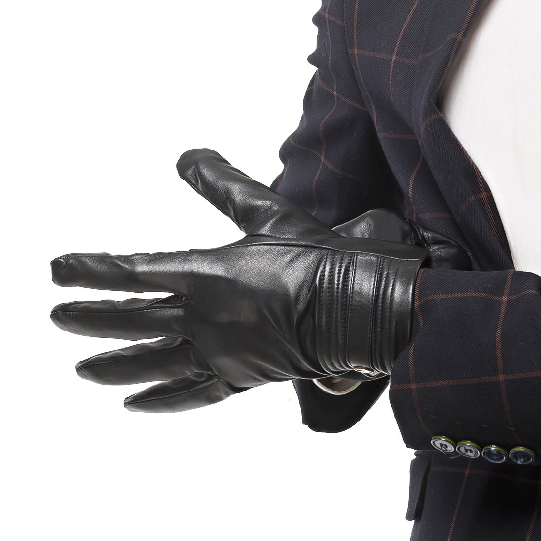 Nappaglo Men's Genuine Lambskin Leather Gloves Touchscreen Winter Warm Windproof Cycling Mittens (S (Palm Girth:up to 8''), Black (Touchscreen)) by Nappaglo