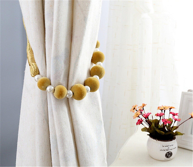 Brown OCCIENTEC 1 Pair of Curtain Tiebacks Holdbacks Home Decorative Pearl Beaded Rope Tiebacks for Curtains