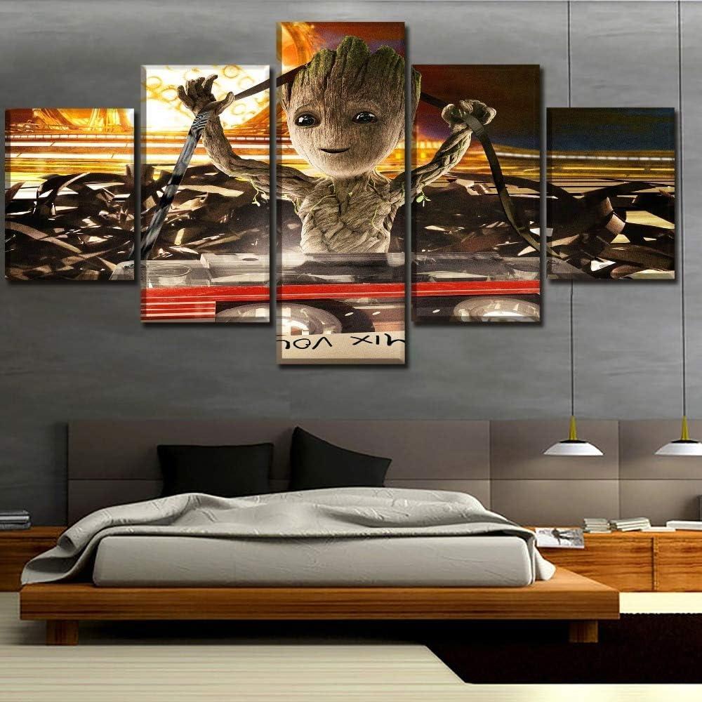 80 40 60 40 100 Satz von Bildern Dekoration Baby Groot Malerei Film W/ächter der Galaxie Poster Wand K/ünstler Dekoration rahmenlose 40
