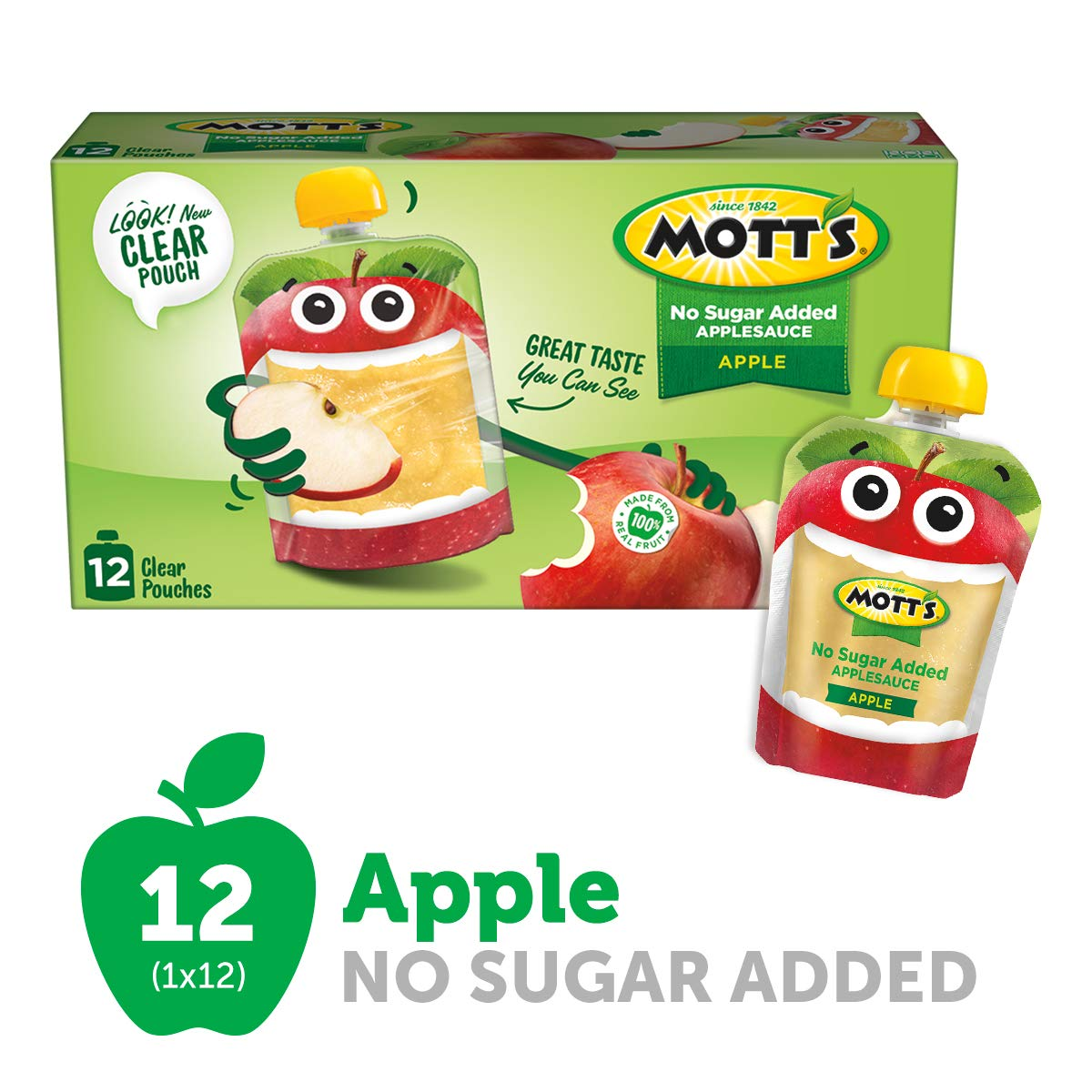 Mott's No Sugar Added Applesauce, 3.2 Ounce (Pack of 12) Clear Pouch, Perfect for on-the-go, No Added Sugars or Sweeteners, Gluten Free and Vegan