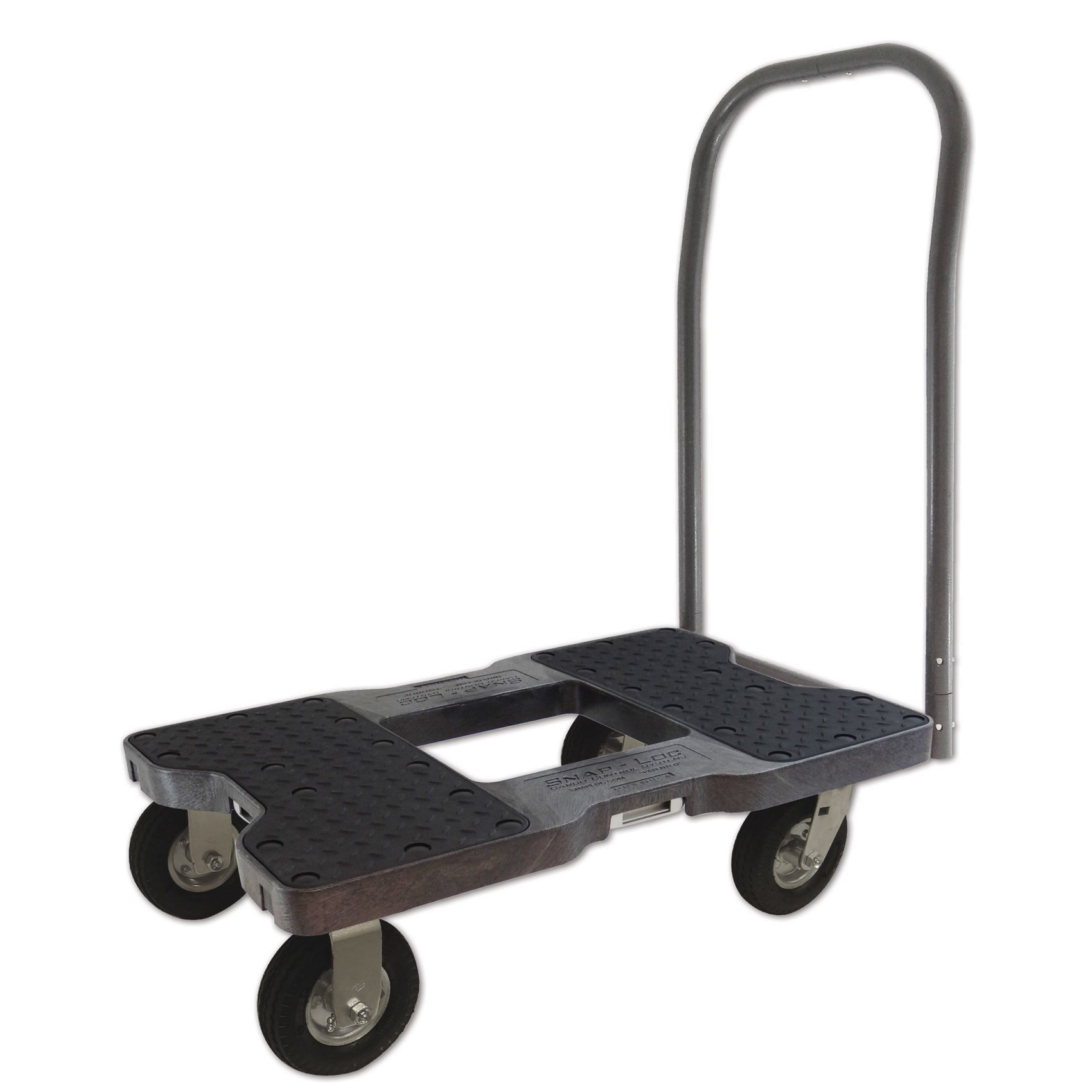 SNAP-LOC AIR-RIDE PUSH CART DOLLY BLACK with 1500 lb Capacity, Steel Frame, 6 inch Casters, Push Bar and optional E-Strap Attachment