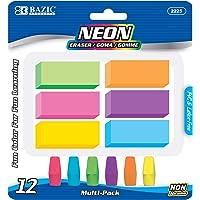 BAZIC Neon Eraser Sets, Pencil Top + Block Bevel Erasers (12/Pack), Arrowhead Caps Tops Eraser, Large Size Bulk Block…