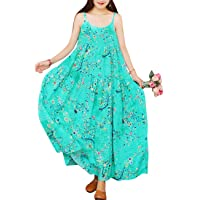 Women Casual Loose Bohemian Floral Print Empire Waist Spaghetti Strap Long Maxi Summer Beach Swing Dress XS-5X E75