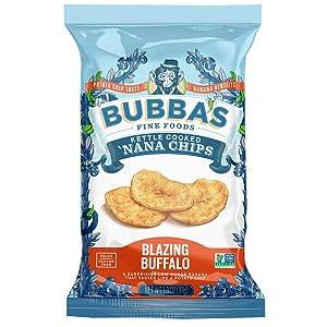 Bubba's Fine Foods Savory Paleo Banana Chips | Blazing Buffalo, 1.2 Ounce Snack Packs (Pack of 8)