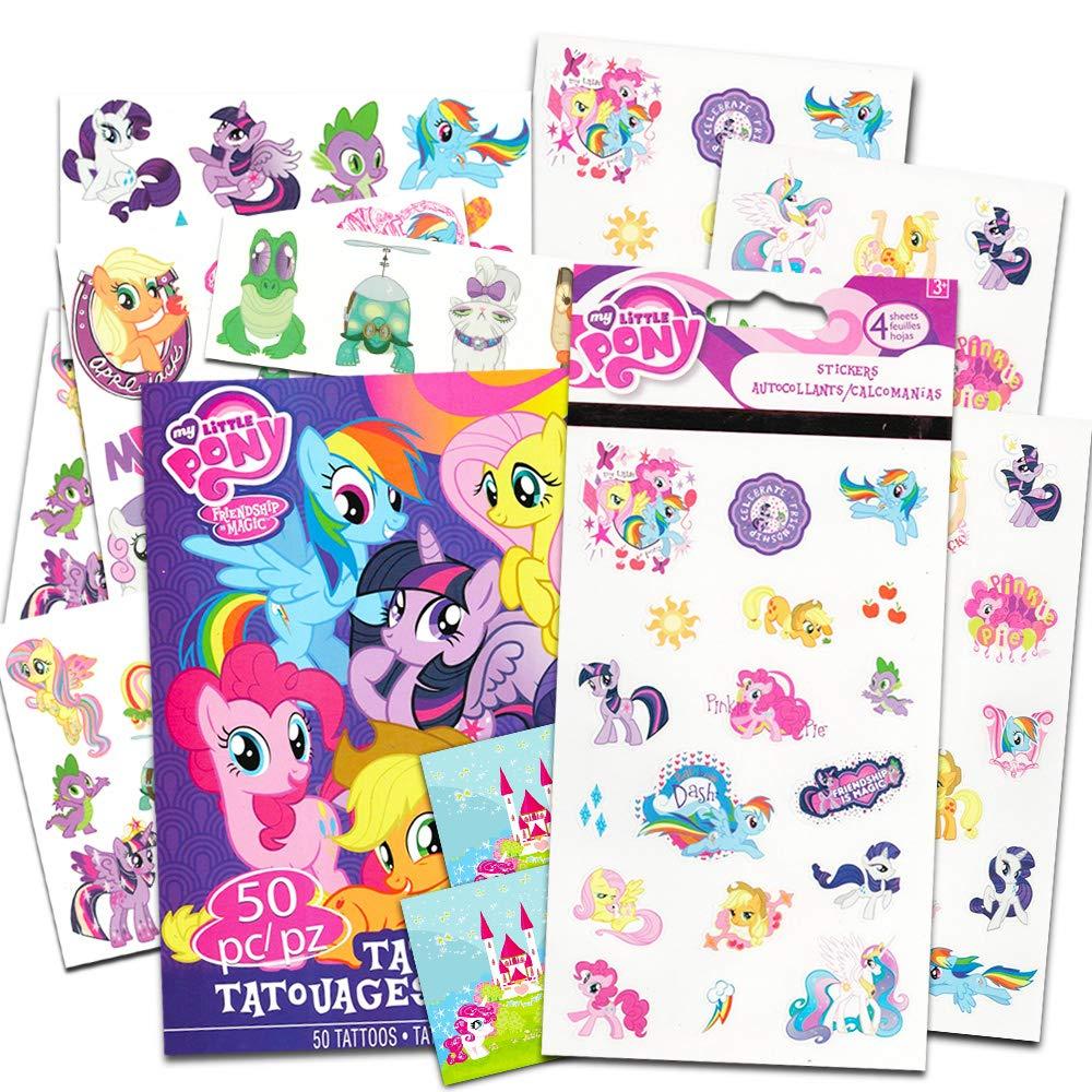 My Little Pony Stickers and Tattoos ~ Twilight Sparkle, Rainbow Dash, Fluttershy, Pinkie Pie, Applejack, Rarity, Spike the Dragon, Princess Celestia, and Princess Luna!