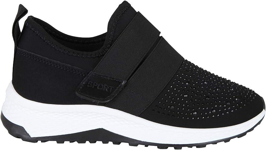 KRISP Zapatilla Suela Blanca Gruesa Cuña Barata Negro Blanco Brillantes Velcro Cómodas: Amazon.es: Zapatos y complementos
