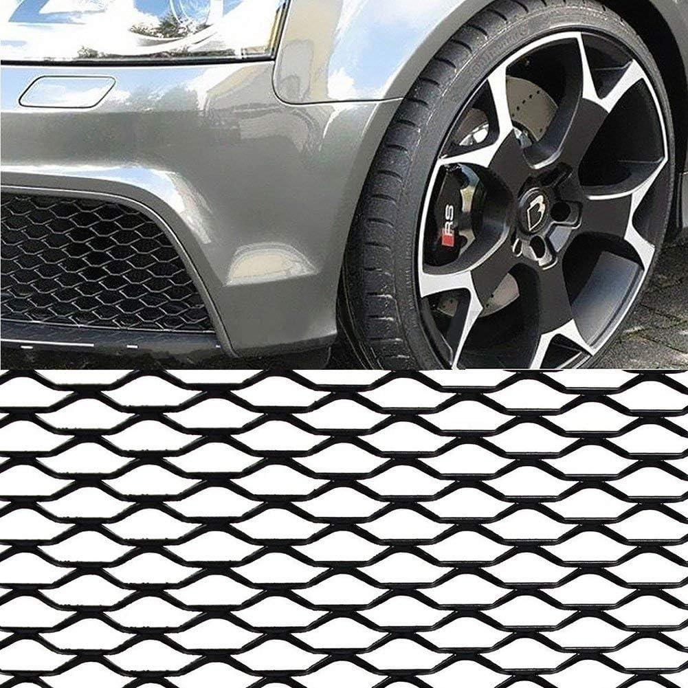 Nero Free Size Dengofng per Auto Mascherine Alluminio Lega Auto Paraurti Anteriore Griglia Rete Griglia Cover 40 x13 Nido dApe Esagonale Griglia Rete Spoiler Paraurti Sfiato