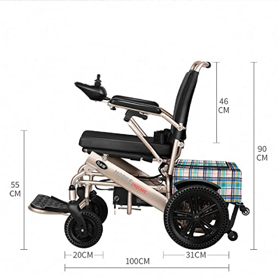 Scooter para Silla de Ruedas eléctrico con Motor eléctrico Ligero y Plegable, Doble batería de Litio + Dispositivo antirrobo + turbina de Abeja ...