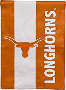 Team Sports America Collegiate University of Texas Embroidered Logo Applique Garden Flag, 12.5 x 18 inches Indoor Outdoor Double Sided Decor for Collegiate Fans