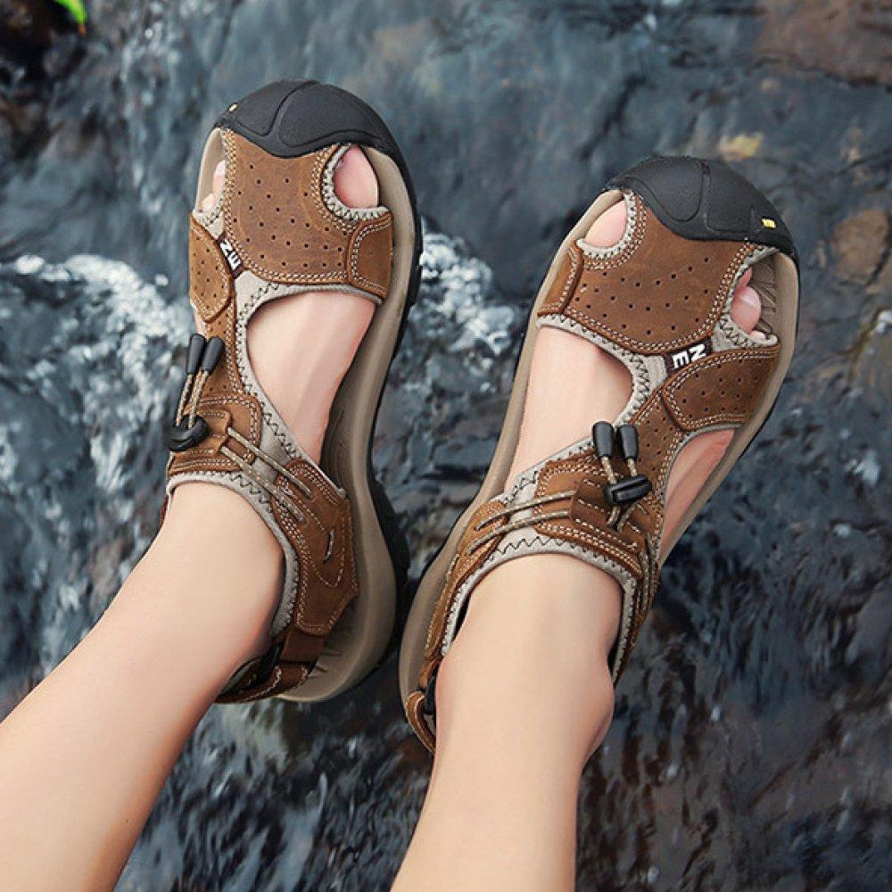 Hope Trekking-Schuhe Sommer-Männer Echtes Leder Sandalen Outdoor-Strand Schuhe Closed-Toe Trekking-Schuhe Hope 372ad2