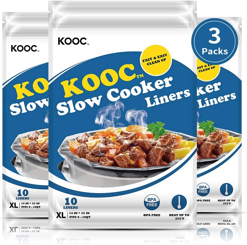 [NEW PACKAGE] KOOC Premium Disposable Slow Cooker Liners and Cooking Bags, Extra Large Size Fits 6QT to 10QT Crock Pot, 14