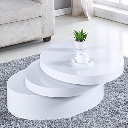 Amazoncom Newretailglobal White Round Coffee Table Rotating