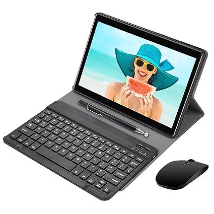 Tablets 4G 10 Pulgadas con Teclado 64GB ROM Dual SIM/WiFi 3GB RAM Android 8.1 Batería de 8000mAh Cámara de 8MP Tablets (Negro)