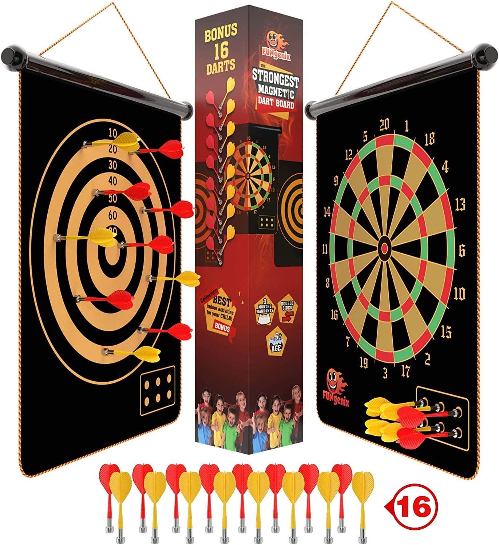 Double Sided Traditional Dartboard Dart Board 6 Darts Game Fun Adults Kids Gift