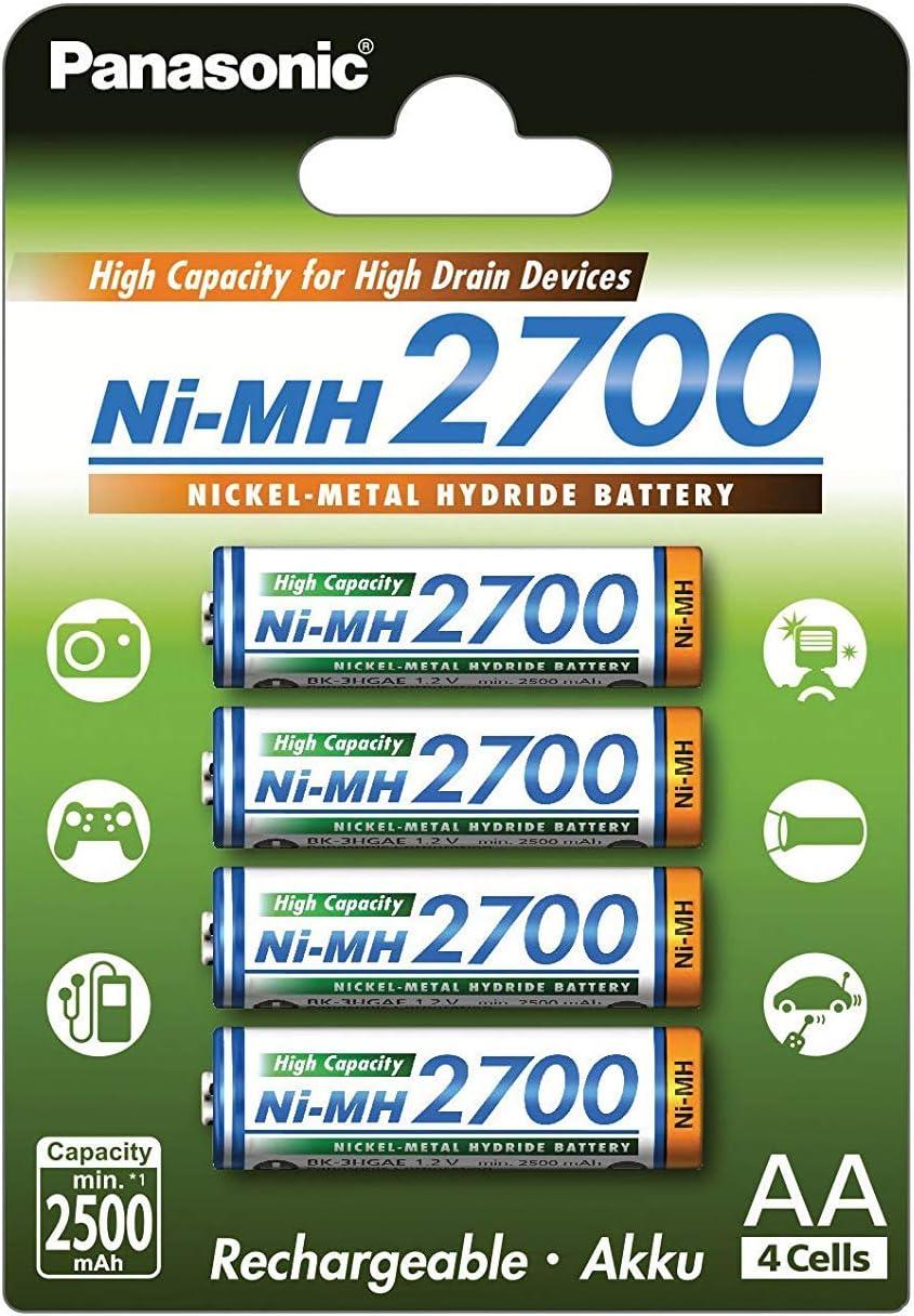 Panasonic BK-3HGAE/4BE - Pilas AA NI-MH 2700 recargables de gran capacidad (2.700 mAh, 4 unidades)