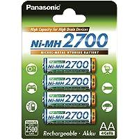 Panasonic High Capacity, accu Ni-MH 2700, AA Mignon, 4-pack, min. 2700 mAh, accu met hoge capaciteit met extra sterke…