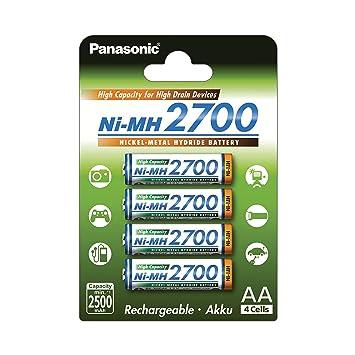 Panasonic BK-3HGAE/4BE - Pilas AA NI-MH 2700 recargables de gran ...