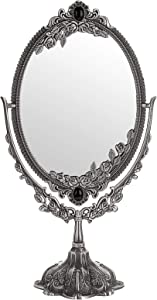JuxYes Metal Tabletop Antique Decorative Makeup Mirror with Stand, Vintage Swivel Double Sided Cosmetic Mirror with Frame, Retro Desktop Oval Dressing Mirror for Bathroom Bedroom