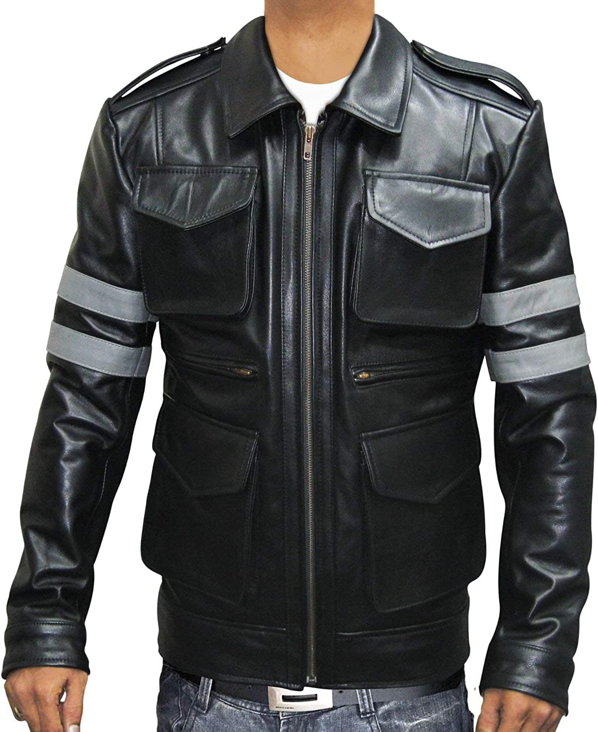 Resident Evil 6 Leon S Kennedy Black Cow Hide Leather Jacket