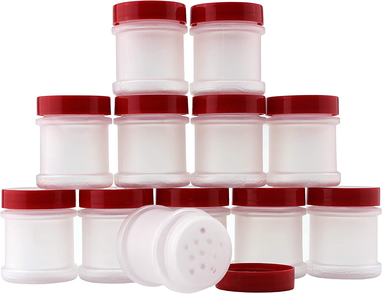 Mini Plastic Spice Jars w/Sifters (12-Pack); 2 Tablespoon Capacity (1 Fluid Ounce) Spice Bottles Great for Travel, Glitter, Gifts, Favors, Etc.